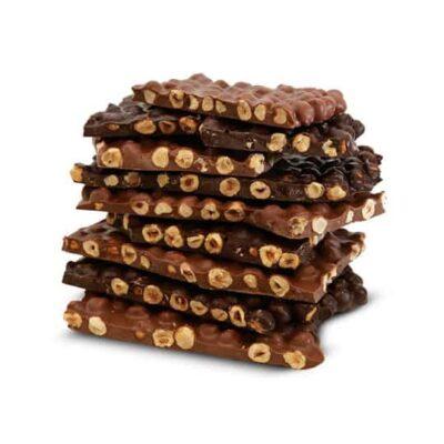 100 Gr Chocolat noisettes entières caramélisées.
