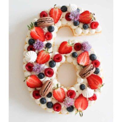 Number Cake – Letter Cake  Fruits est macarons