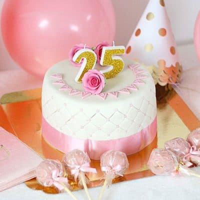 Gâteau « Happy Birthday » Deluxe – Rose